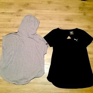 Puma, and under armour, workout tops